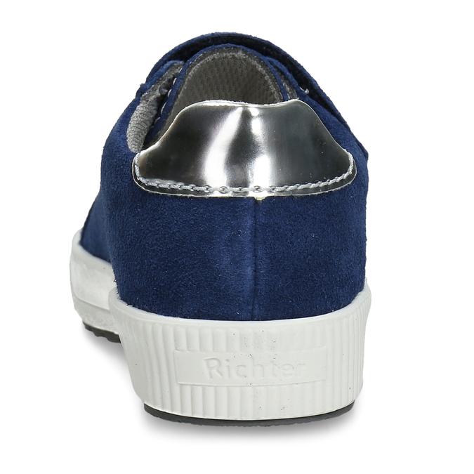 Modré dívčí kožené tenisky s neonovým prvkem richter, modrá, 223-9603 - 15