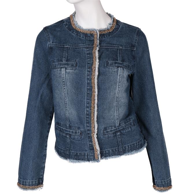 Modrá dámská bunda se zlatým řetízkem bata, modrá, 979-9582 - 13