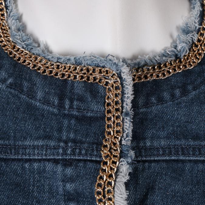 Modrá dámská bunda se zlatým řetízkem bata, modrá, 979-9582 - 16