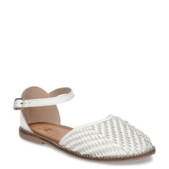 Bílé dívčí kožené sandály s uzavřenou špičkou mini-b, bílá, 324-1602 - 13