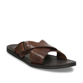 Hnědé kožené pánské pantofle s přezkou bata, hnědá, 866-3610 - 13