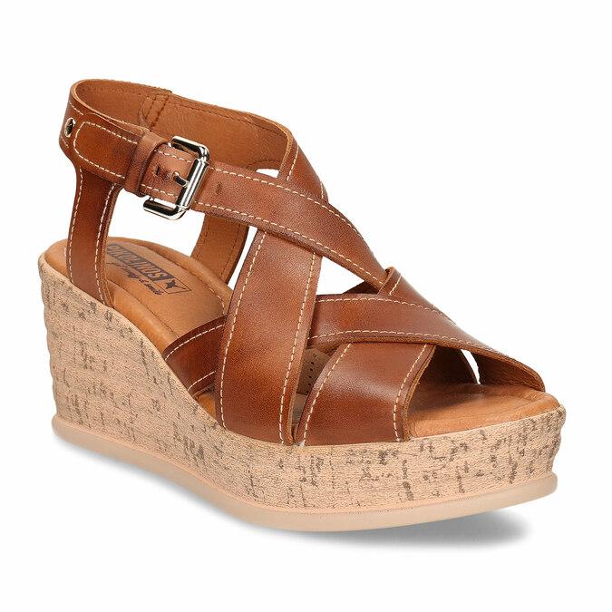 Hnědé dámské kožené sandály na klínovém podpatku pikolinos, hnědá, 664-4620 - 13