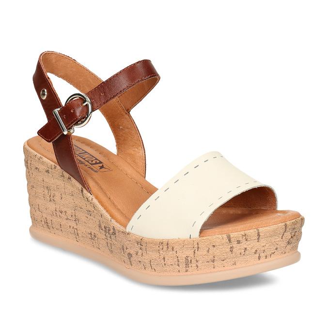 Bílo-hnědé dámské kožené sandály na klínovém podpatku pikolinos, bílá, 664-1620 - 13