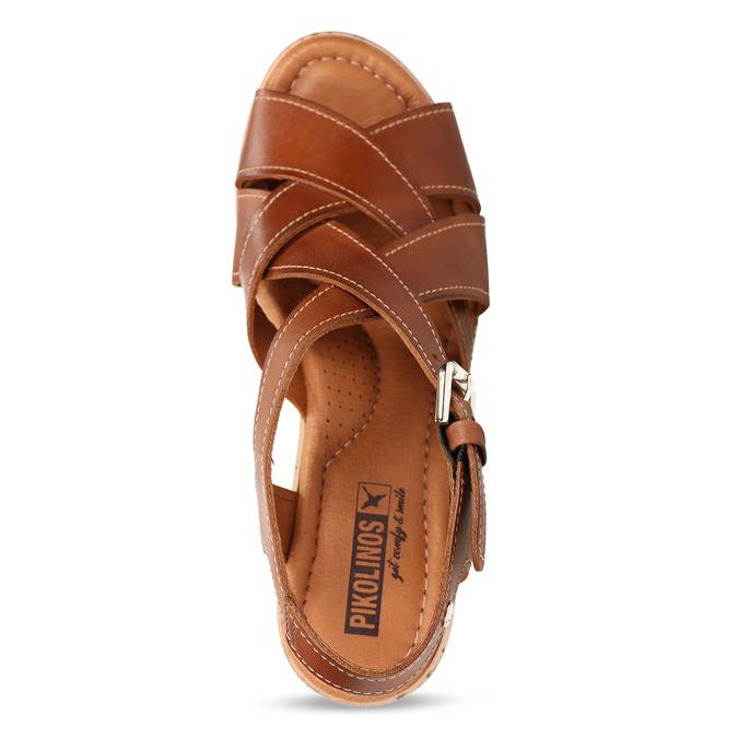 Hnědé dámské kožené sandály na klínovém podpatku pikolinos, hnědá, 664-4620 - 17