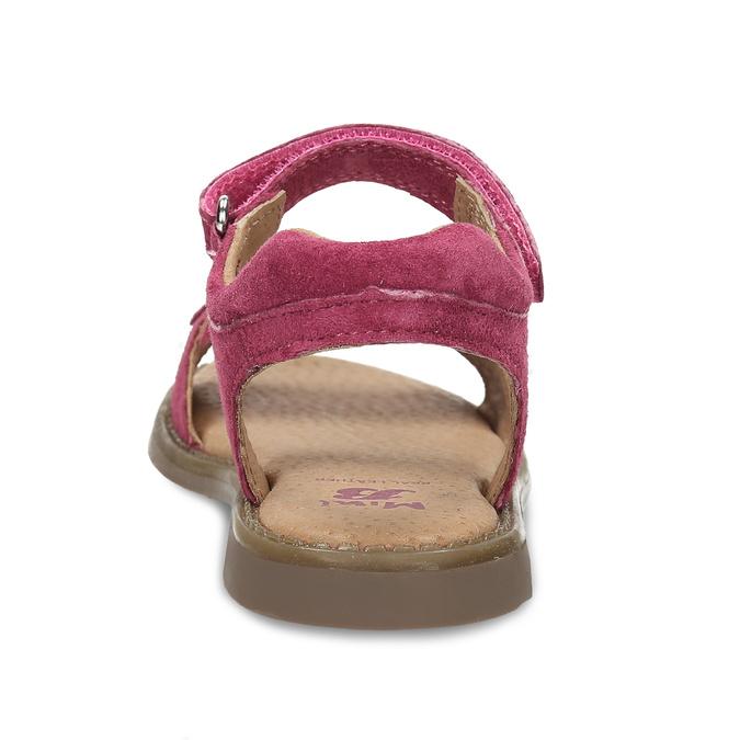 Tmavě růžové dětské kožené sandály mini-b, růžová, 366-5603 - 15