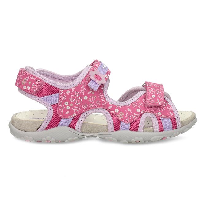 Růžové dětské sandály s květinovým potiskem geox, růžová, 369-5618 - 19
