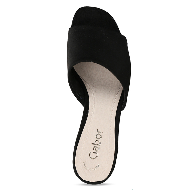 Černé dámské kožené pantofle na nízkém podpatku gabor, černá, 663-6606 - 17
