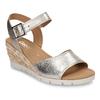 Stříbrné dámské kožené sandály na klínku gabor, zlatá, 666-8608 - 13