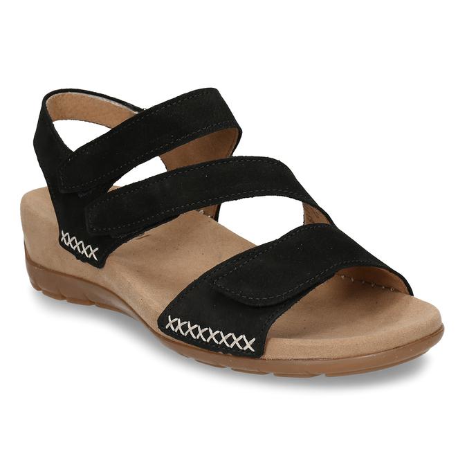 Černé dámské kožené sandály gabor, černá, 663-6600 - 13