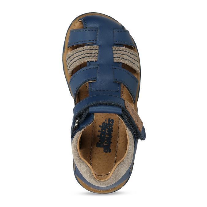 Modré chlapecké kožené sandály s plnou špičkou bubblegummers, modrá, 164-9630 - 17