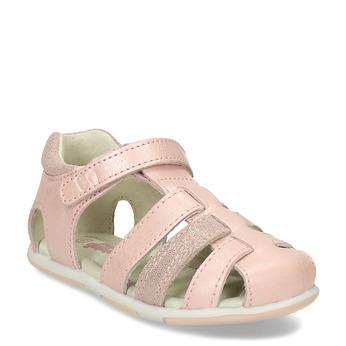 Růžové dívčí kožené sandály s plnou špičkou bubblegummers, růžová, 164-5630 - 13