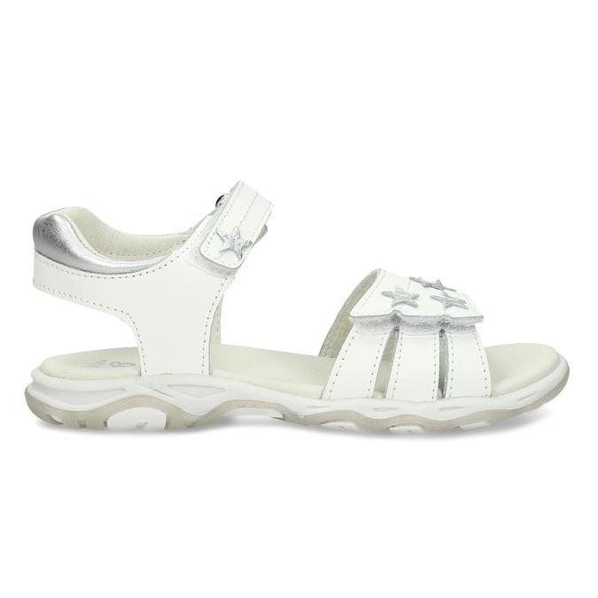 Bílé kožené dívčí sandály s hvězdičkami mini-b, bílá, 264-1601 - 19