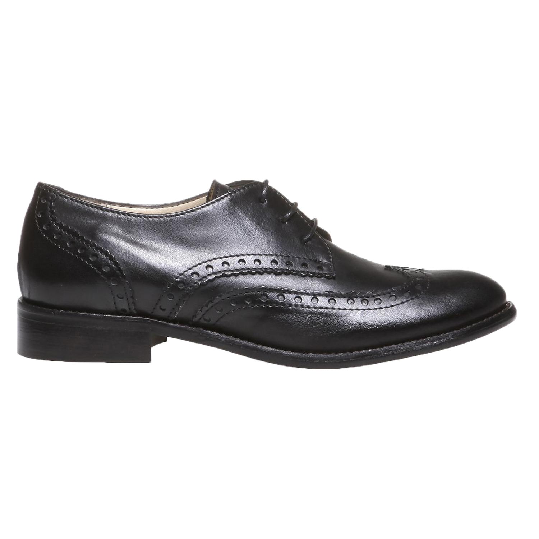 Kožené polobotky s klasickým zdobením bata, černá, 2019-524-6184 - 26
