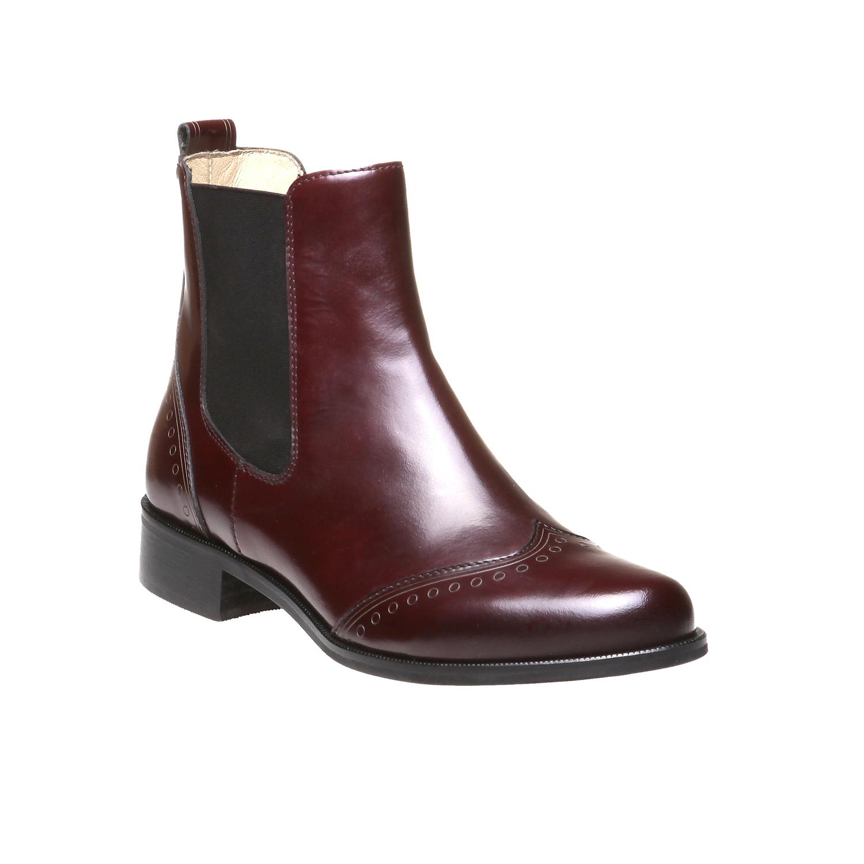 Trendy kožená Chelsea obuv bata, červená, 2019-594-5275 - 13