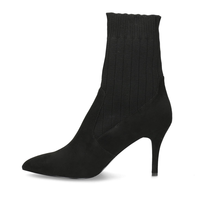 24b026f44c3 Baťa Černé ponožkové kozačky na jehlovém podpatku - Ženy